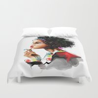 african Duvet Covers featuring African woman by tatiana-teni