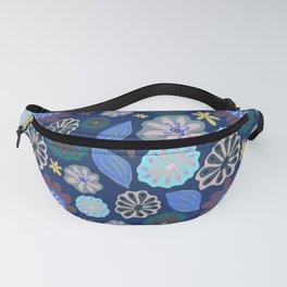 Aqua, Purple & Blue Pods & Flowers  Fanny Pack