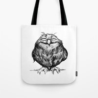 owl Tote Bags featuring Owl Ball by Dave Mottram