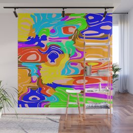 Bright flowing spots of colored lava lines on blue. Wall Mural