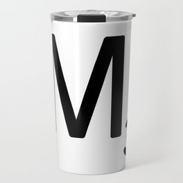 Letter M - Custom Scrabble Letter Tile Art - Scrabble M Initial Travel Mug