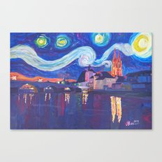 Starry Night in Regensburg  Van Gogh Inspirations on River Danube Canvas Print