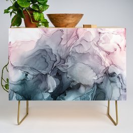 Blush and Payne's Grey Flowing Abstract Painting Credenza