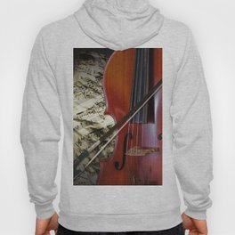 Cello with Bow a Stringed Instrument with Classical Sheet Music Hoody