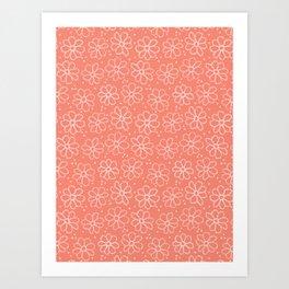 Boho Coral Flower Summer Blooms Art Print