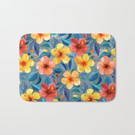 Colorful Watercolor Hibiscus on Grey Blue Bath Mat
