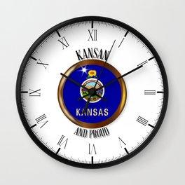 Kansas Proud Flag Button Wall Clock