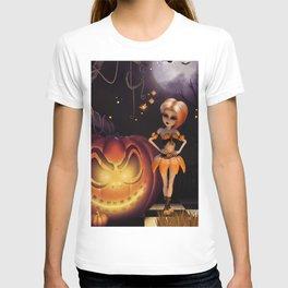 Cute little pumpkin girl with pumpkin in the night T-shirt