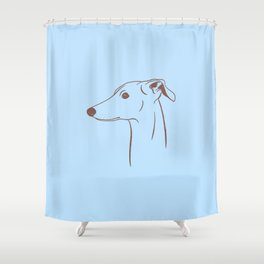 Italian Greyhound (Blue and Taupe) Shower Curtain
