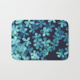 Hand Painted Floral Pattern in Teal & Navy Blue Bath Mat