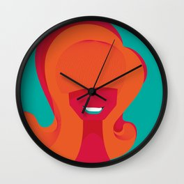 60s Hair Portrait - Turquoise Wall Clock