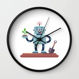 Robot Gardener With Shovel Plant His Hand Illustration Wall Clock