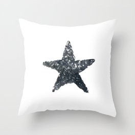 Black Watercolour Star, Watercolor, Nursery decor, New Baby Gift, Fine art painting fr Throw Pillow