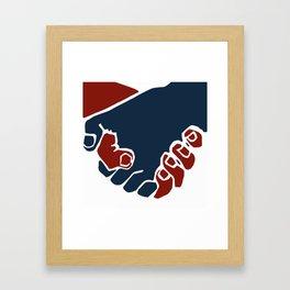 Red and blue hand shake Framed Art Print