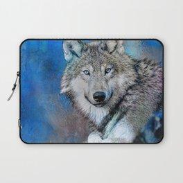 Blue Wolf Wildlife Mixed Media Art Laptop Sleeve