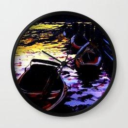 Rowboats at sunrise Wall Clock