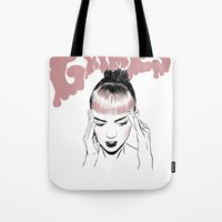 grimes Tote Bags featuring GRIMES by Jacinta Stokes