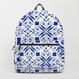Delft Blue Floral Tile Pattern Backpack