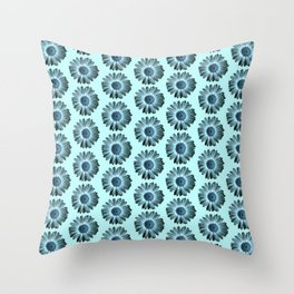 Turquoise Bue Daisy Pattern,Retro Throw Pillow