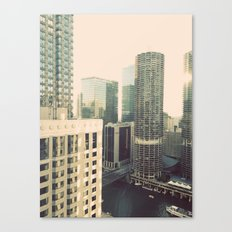Chicago River Marina Tower Color Photo Canvas Print