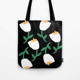 Tulips Dancing in White on Black Tote Bag