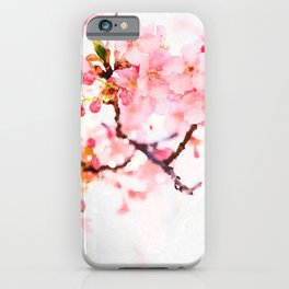 Cherry pink blossoms watercolor painting #1 iPhone Case