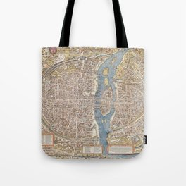 Color Map of Paris Circa 1550 Tote Bag
