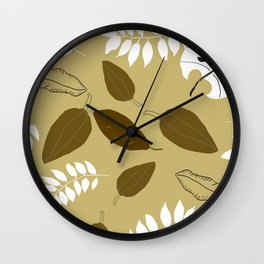 Brown and tan leaves Wall Clock