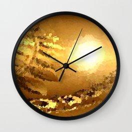 golden landscape. Wall Clock