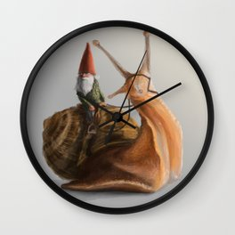 Gnome on Snail Wall Clock