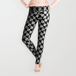 Black and Silver Gray Ghost Checkerboard Weimaraner Leggings