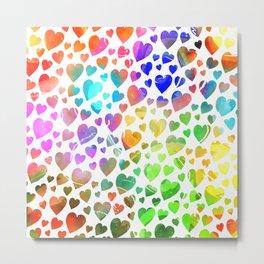 Watercolor Hearts Metal Print