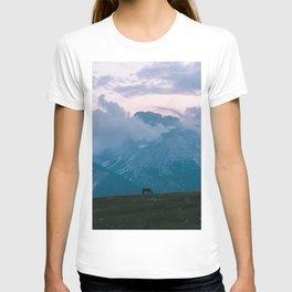 Mountain Sunset Horse - Landscape Wildlife Photography T-shirt
