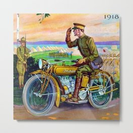 1918 WWI Vintage Motorcycle Dealer's Sign - Advertising Poster Metal Print