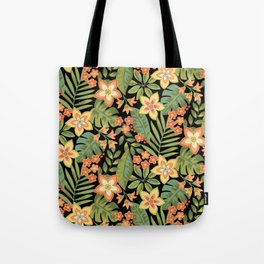 Tropical Flowers and Leaves Tote Bag