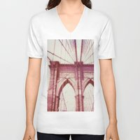 brooklyn bridge V-neck T-shirts featuring Brooklyn Bridge by Jon Damaschke