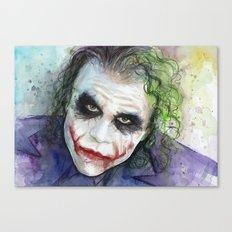 The Joker Watercolor Canvas Print