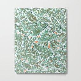 Tropical Caladium Leaves Pattern - Green Metal Print