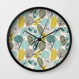 Minimalistic modern pattern with abstract leaves 2. Wall Clock