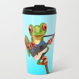 Tree Frog Playing Acoustic Guitar with Flag of Estonia Travel Mug