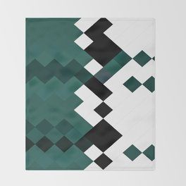 Emerald Green White Black Geometrical Pattern Throw Blanket