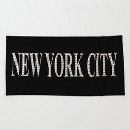 New York City (type in type on black) Beach Towel