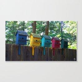 Bird Houses on a Fence Canvas Print