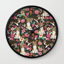 Sheltie dog lover gifts shetland sheep dog must have unique pet portrait florals dog pattern Wall Clock