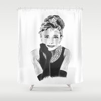 audrey hepburn Shower Curtains featuring Audrey Hepburn by Bridget Davidson