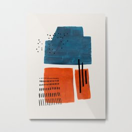Burnt Orange Jewel Teal Blue Mid Century Modern Funky Colorful Shapes Patterns by Ejaaz Haniff Metal Print
