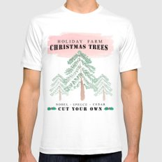 Christmas Tree Farm-red White MEDIUM Mens Fitted Tee