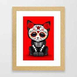 Cute Red Day of the Dead Kitten Cat Framed Art Print