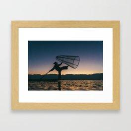 Burmese Fisherman Framed Art Print