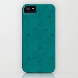 Teal Green Grunge Flowers and Hearts Pattern Gift Ideas iPhone Case